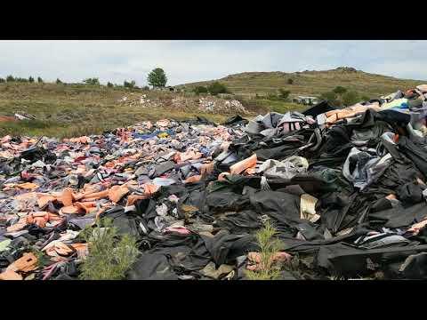 Lifejacket Graveyard in Lesvos/Lesbos Greece panorama