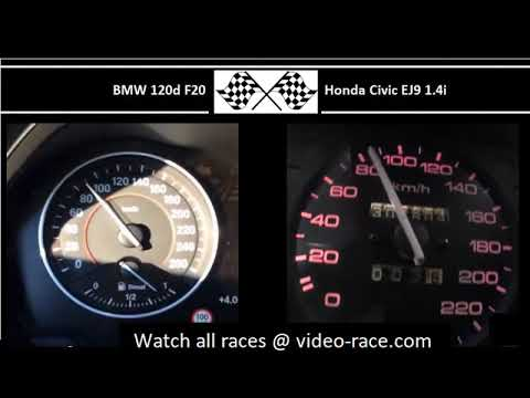 BMW 120d F20 VS. Honda Civic EJ9 1.4i  - Acceleration 0-100km/h