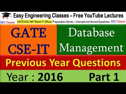 DBMS GATE 2016 Solved Questions Part 1 - Problem on SQL Query