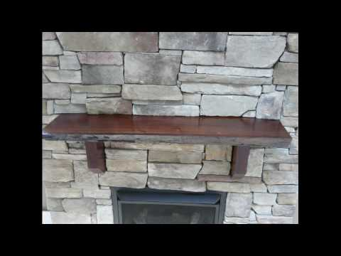Stone fireplace Black walnut mantle