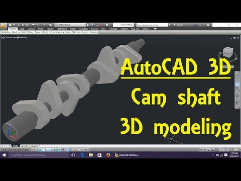 AutoCAD 3D Modeling 8 Cam shaft By Engineer AutoCAD Tutorials
