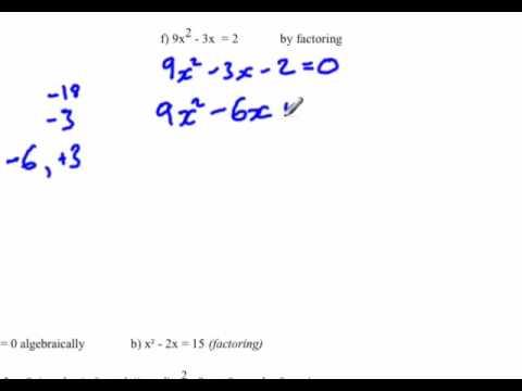 Quadratic equation : Find x-intercepts by factoring