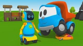 Leo Junior baut einen Roboter - Wo sind  die Batterien? - 3D Cartoon für Kinder