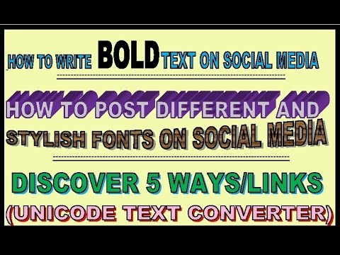 Tutorial-2 | How To Write Bold Text On Facebook (Different, Italic, Stylish etc) | Discover 5 Links