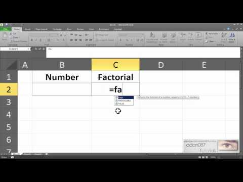 Excel to obtain the factorial of a number