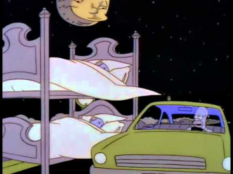 Homer falls asleep while driving