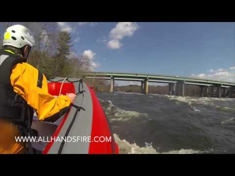 AB Inflatable Rescue Boat navigating the Merrimack River in New Hampshire NH