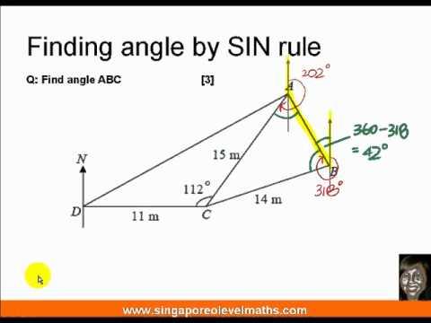 GCE O-Level E-Maths: Trigonometry - Bearings and SIN rule