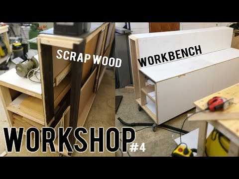 WORKSHOP (part 4) – DIY scrap wood WORKBENCH | storage | WHEELS