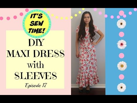 THE EASIEST  DIY MAXI DRESS WITH SLEEVES | CUTE SUMMER DRESS | SEWING FOR BEGINNERS