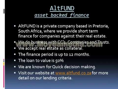 Private funding for Companies with real estate as security in South Africa