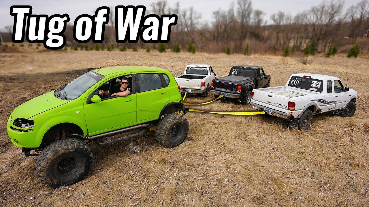 Tug of War Against 3 Ford Rangers