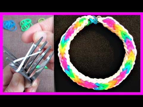 Rainbow Loom Bracelet Double Cross Fishtail without Loom/ using 2 Forks