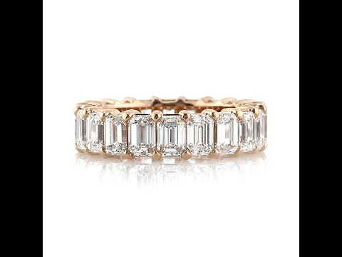 Mark Broumand - 6.30ct Emerald Cut Diamond Eternity Ring in 18k Rose Gold