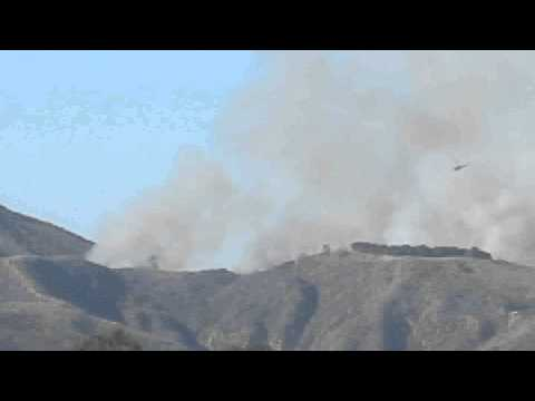 Ventura County Fire Helicopter Making Water Drops on Brush Fire