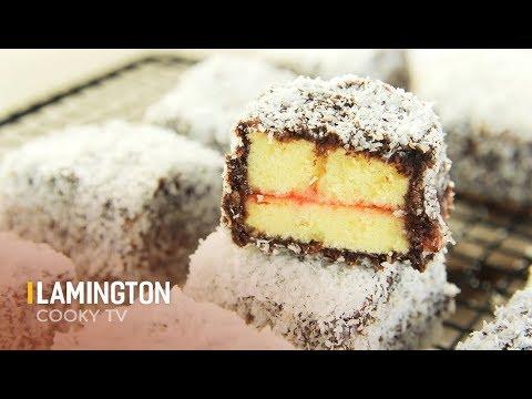 Cách làm bánh LAMINGTON - How to make Lamington - Cooky TV
