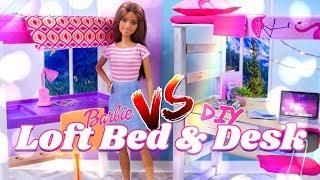 Versus: Barbie Loft Bed & Desk Vs Diy Loft Bed & Desk Plus Unboxing