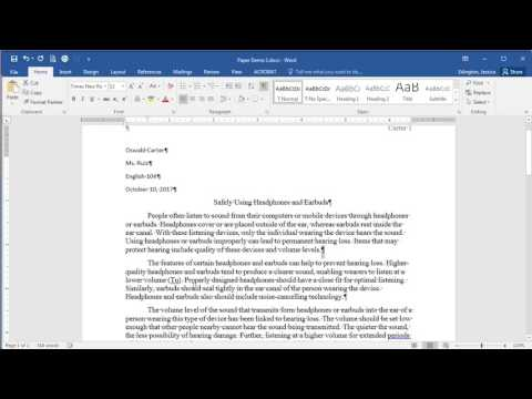 Microsoft Word 2016 - Line and Paragraph Spacing