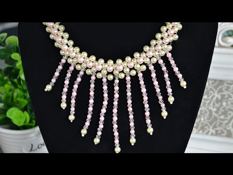 How to Make Beaded Tassel Necklace with Pearls and Crystals