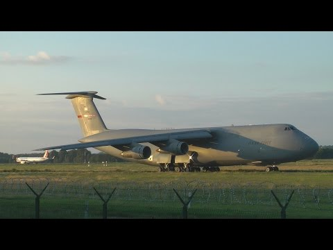 USAF C-5 Galaxy takeoff from Budapest
