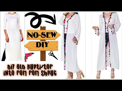 No-Sew DIY: Convert/Reuse/Recycle Old Kurti/Top Into Pom-pom Shrug/Jacket(HINDI)