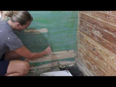 paint stripping wood slat walls