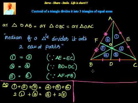 Triangles -  Centroid divides a triangle into 3 equal areas