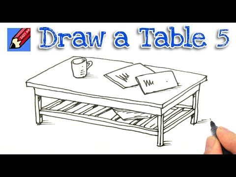 How to Draw a Coffee Table Real Easy - Step by Step #5