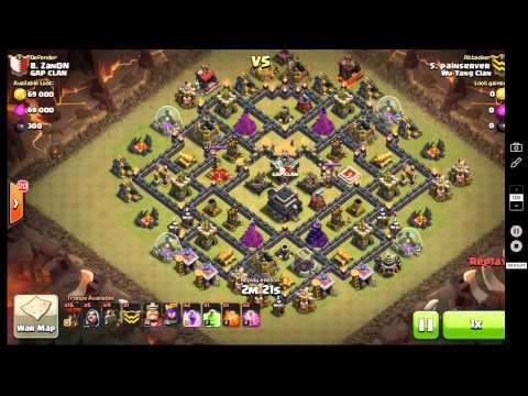 Cold Blooded LaLoon.  Haste Spell vs 2 Air Sweepers. TH9  CLAN WAR