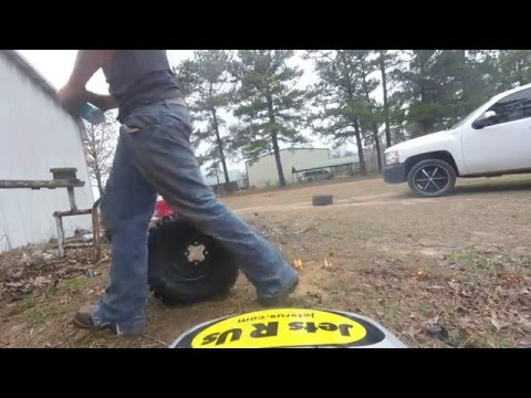 Changing tubeless atv tires without a tire changer