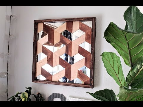DIY Geometric 3D Illusioned Wood Art (with mirror pieces!)