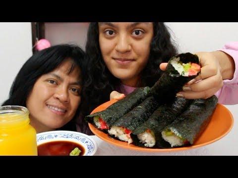 Eating Avocado Sushi Rolls with Super Spicy Wasabi MUKBANG