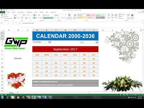 #41 (HINDI) MAKE A  CALENDAR IN EXCEL   Calendar