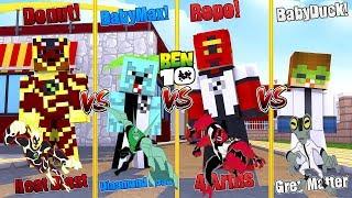 Minecraft BEN10 PRISON ESCAPE - HEATBLAST (Donut) VS 4 ARMS (Ropo) VS DIAMOND HEAD (Baby Max)