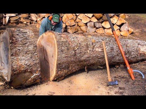 WOOD CUTTING - CUTTIN' MORE BIG WOOD (Poorly)