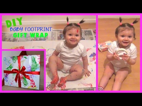 DIY Baby Footprint Gift Wrap - Wrapping Paper - Toddler DIY