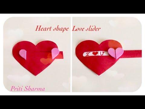 Heart Shape Love Slider Card Tutorial / Easy Valentines card  / Priti Sharma