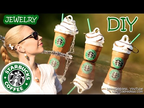 DIY Starbucks Jewelry WITHOUT polymer clay - How To Make Mini Starbucks Cups