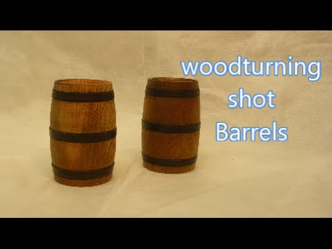 wood-turning a wooden shot barrel