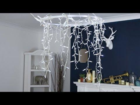 How To Make A Hula Hoop Chandelier Using Fairy Lights