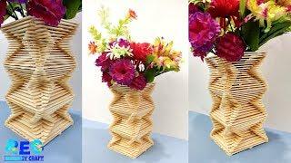 DIY | Flowers vase making | Ice cream stick craft | DIY home decor