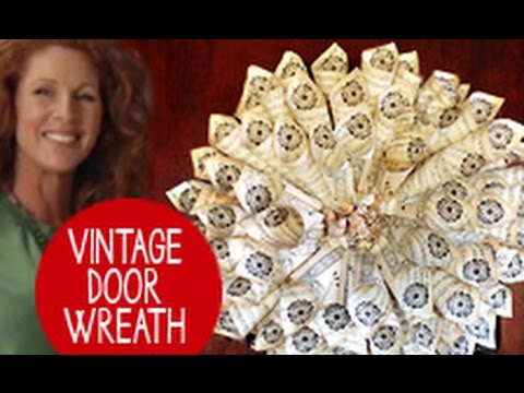 How to Make a Door Wreath Using Old Books