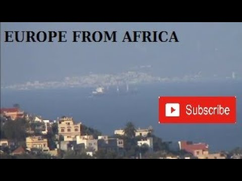 The earth is flat ? Strait of Gibraltar, view from Tangier morocco to spain, Tariffa,