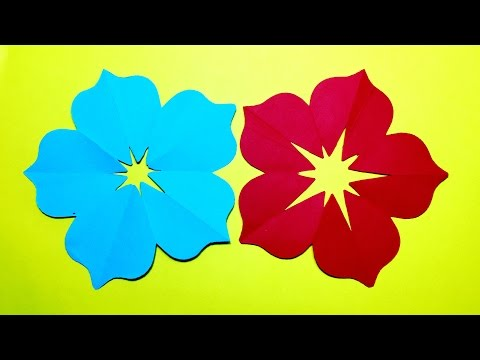 How to make 5 petal hand cut paper flowers - origami flower DIY  | origami flower easy  paper crafts