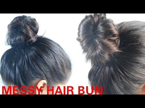 Quick And Easy Messy Hair Bun- #1 #OneMinuteBeauty