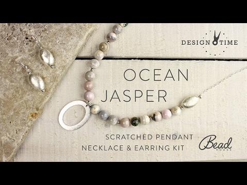 Ocean Jasper & Scratch Pendant Necklace & Earring Kit - Design Time