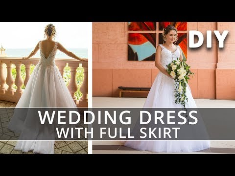 How to make a Wedding Dress with straps and full skirt | DIY classic princess wedding dress