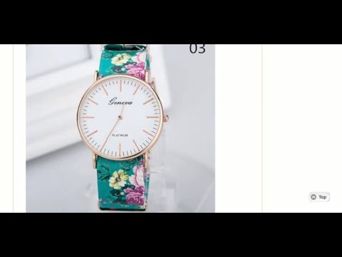Fashion Women Geneva Flower Leather Band Quartz Wrist Watch