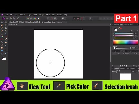 Affinity Photo View , Pick Color , Selection brush tools || Beginners Guide 1