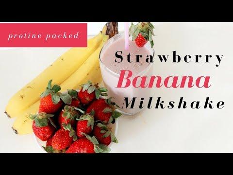 Protein Packed Strawberry Banana Milk Shake in Hindi - 3 Ingredient Sugar-Free Milk Shake